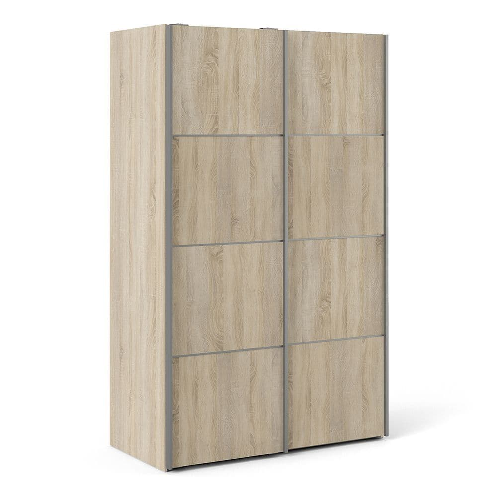 Valerian Sliding Wardrobe 120cm in Oak with Oak Doors with 2 Shelves in Oak